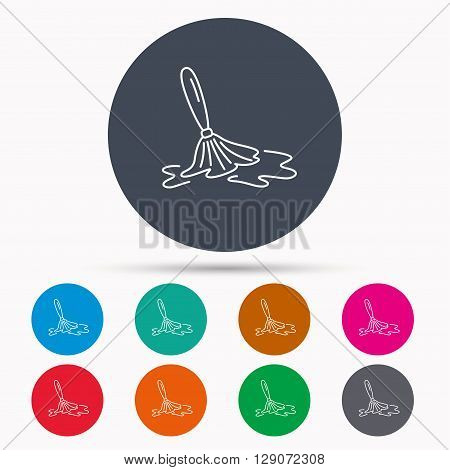 Wet cleaning icon. Clean-up floor tool sign. Icons in colour circle buttons. Vector
