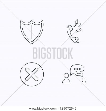 Phone ringtone, delete and chat speech bubble icons. Shield linear sign. Flat linear icons on white background. Vector