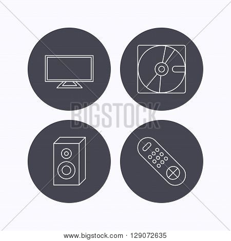 Sound, TV remote and hard disk icons. Widescreen TV linear sign. Flat icons in circle buttons on white background. Vector