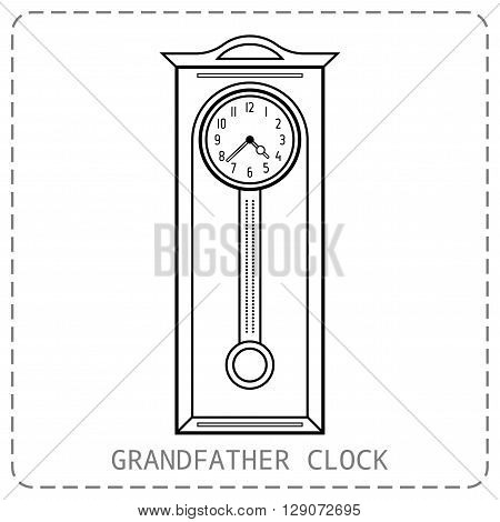 Grandfather clock vintage. Flat linear object, icon. Vector illustration