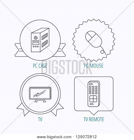 PC mouse, TV remote and computer icons. Widescreen TV linear sign. Award medal, star label and speech bubble designs. Vector