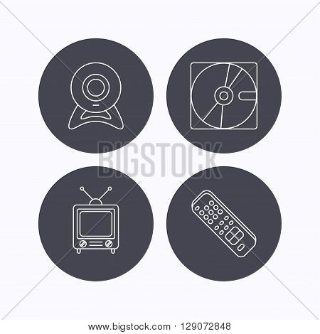 Web camera, retro TV and hard disk icons. TV remote linear sign. Flat icons in circle buttons on white background. Vector