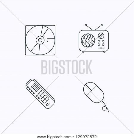 Hard disk, radio and TV remote icons. PC mouse linear sign. Flat linear icons on white background. Vector