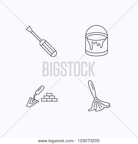 Spatula, screwdriver and paint brush icons. Brush linear sign. Flat linear icons on white background. Vector
