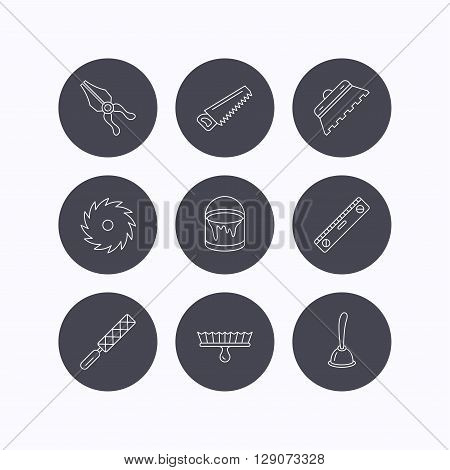 Trowel for tile, saw and brush tool icons. Level and file tool, bucket of paint linear signs. Plunger, pliers icons. Flat icons in circle buttons on white background. Vector