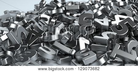 Pile or bunch of metal iron figures numbers isolated on white background. Concept image for education, maths, business or calculation. 3d Rendering.