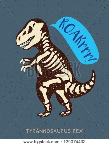 Cartoon card with a tyrannosaurus Rex skeleton and text Roar. Fossil of a T-rex dinosaur skeleton. Cute dinosaur on blue background