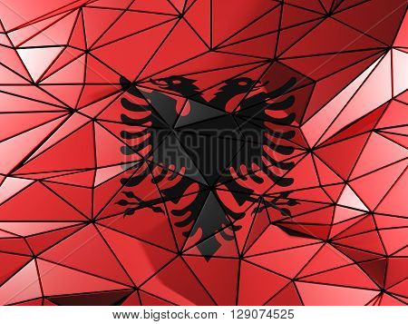 Triangle Background With Flag Of Albania. 3D Illustration