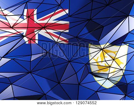 Triangle Background With Flag Of Anguilla. 3D Illustration