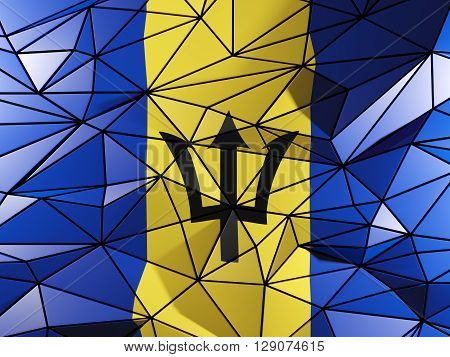 Triangle Background With Flag Of Barbados. 3D Illustration