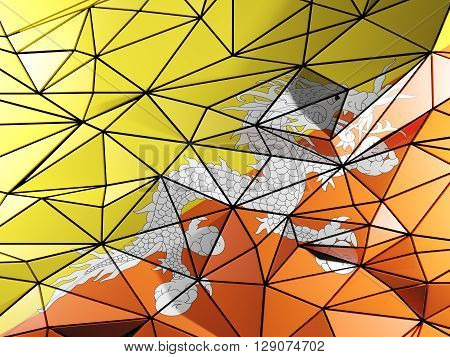 Triangle Background With Flag Of Bhutan. 3D Illustration