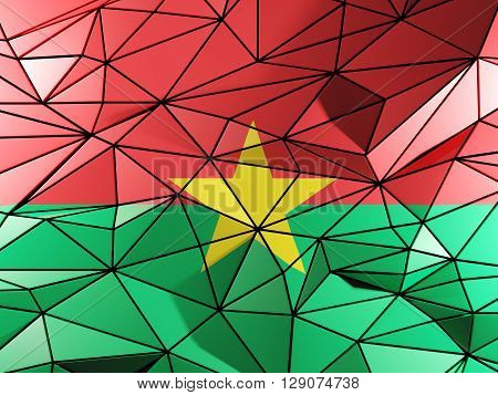 Triangle Background With Flag Of Burkina Faso. 3D Illustration