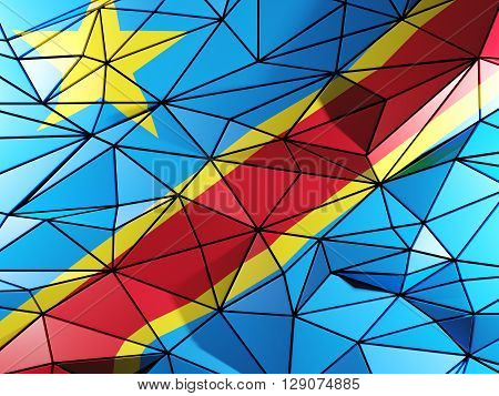 Triangle Background With Flag Of Democratic Republic Of The Congo. 3D Illustration