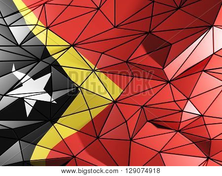 Triangle Background With Flag Of East Timor. 3D Illustration