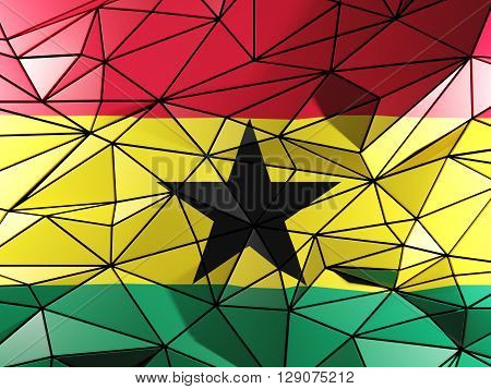 Triangle Background With Flag Of Ghana. 3D Illustration