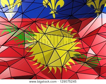 Triangle Background With Flag Of Guadeloupe. 3D Illustration