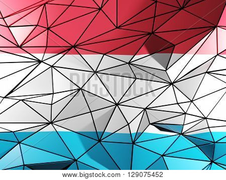 Triangle Background With Flag Of Luxembourg. 3D Illustration