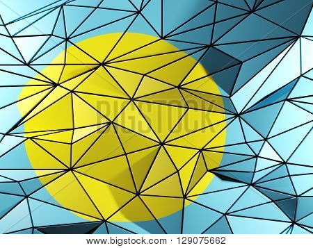 Triangle Background With Flag Of Palau. 3D Illustration