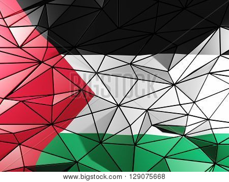 Triangle Background With Flag Of Palestinian Territory. 3D Illustration