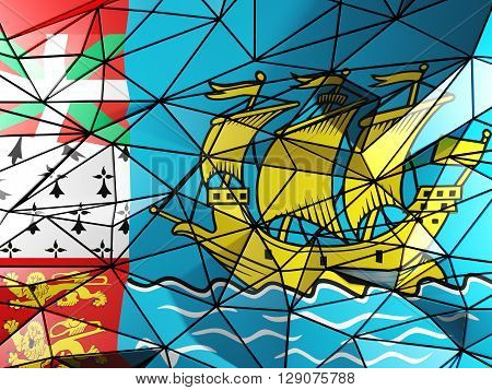 Triangle Background With Flag Of Saint Pierre And Miquelon. 3D Illustration
