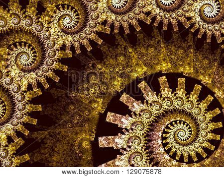 Abstract fractal background - computer-generated image. Fractal geometry - a plurality of repeating spirals of different sizes. For banners, posters, prints and web-design.