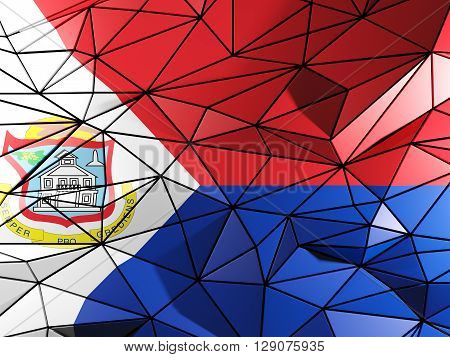 Triangle Background With Flag Of Sint Maarten. 3D Illustration