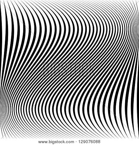 Wavy Dynamic Irregular Lines Monochrome Pattern.