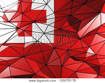 Triangle Background With Flag Of Tonga. 3D Illustration
