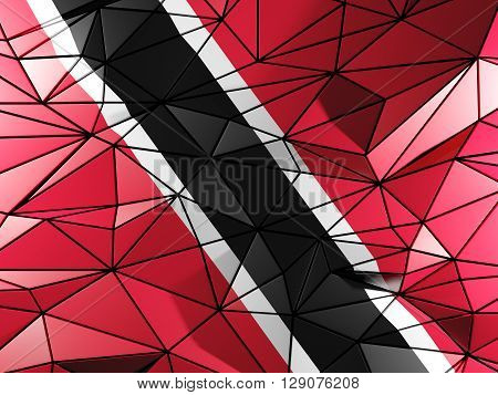Triangle Background With Flag Of Trinidad And Tobago. 3D Illustration