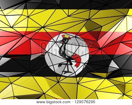 Triangle Background With Flag Of Uganda. 3D Illustration