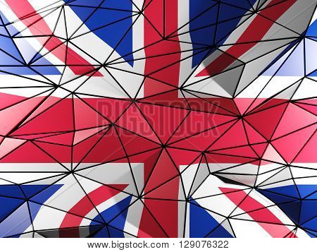Triangle Background With Flag Of United Kingdom. 3D Illustration