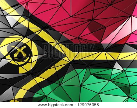 Triangle Background With Flag Of Vanuatu. 3D Illustration