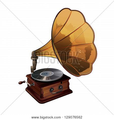 Gramophone vector illustration on a white background