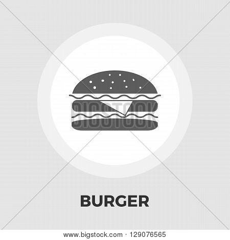 Burger icon vector. Flat icon isolated on the white background. Editable EPS file. Vector illustration.