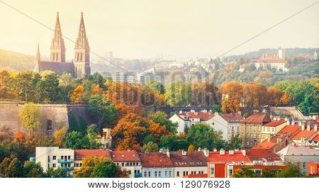 Prague sunset landscape from view to vysehrad church of st peter and paul