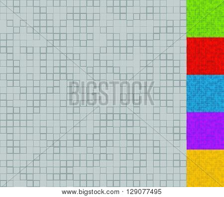 Set Of Mosaic Patterns With Random Squares (5 Colors + Grayscale Version)