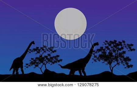 Silhouette of brachiosaurus at the night with blue backgrounds