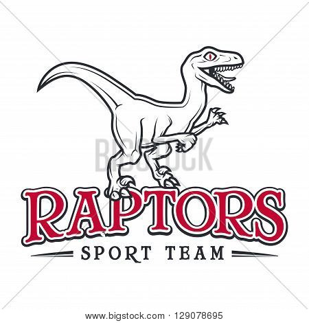Vintage araptor Logo. Dino sport mascot insignia badge design. College Team t-shirt illustration concept isolated on white background
