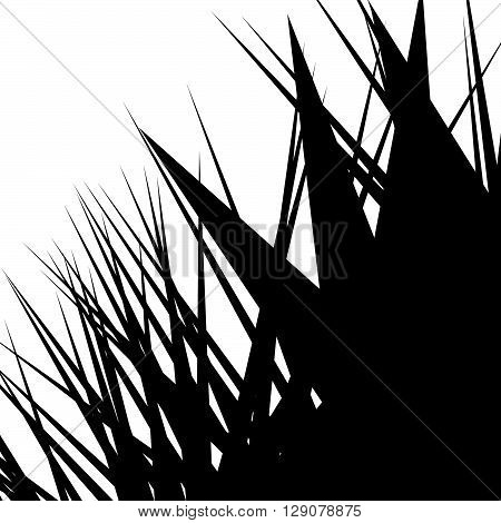 Asymmetric, Irregular Element With Scattered Edgy, Pointed Shape. Sharp, Spiky Monochrome Graphic /