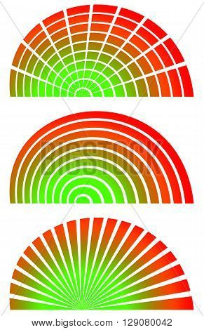 Radial Elements With Spectrum Fill. Set Of 3 Circular, Semicircle Shaped Elements. Bars, Horizontal