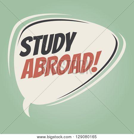 study abroad retro speech bubble