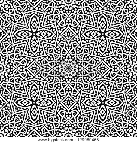 Abstract arabic seamless pattern. Monochrome oriental moroccan background. Black and white fantasy geometric tile. Vector illustration.