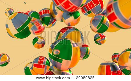 Large group of orbs or spheres levitation in empty space. 3D rendering. Sale text and geometry pattern textured surface