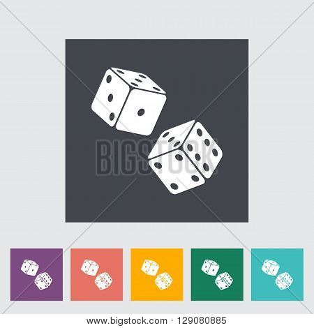 Craps. Single flat icon on the button. Vector illustration.