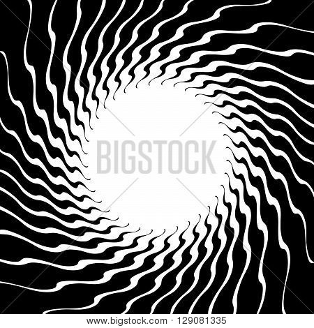 Distorted Spirally Bursting Abstract Shape With Radiating Spokes. Abstract Monochrome Geometric Grap