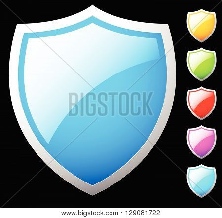 Set Of Shield Shapes, Icons In 6 Colors