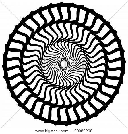 Abstract Spiral Shape, Spiral, Vortex Element. Abstract Radial, Concentric Element Isolated On White