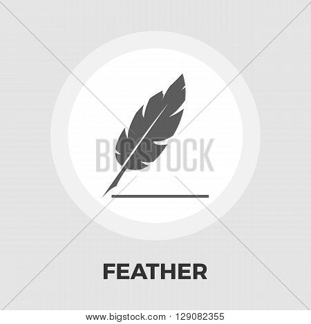 Feather icon vector. Flat icon isolated on the white background. Editable EPS file. Vector illustration.