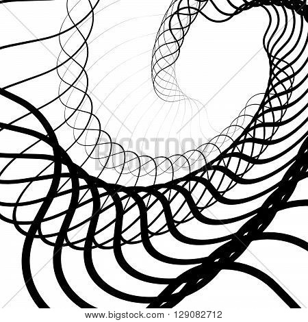 Abstract Random Squiggly, Spirally Lines. Swirling, Rotating Lines Artistic Graphic