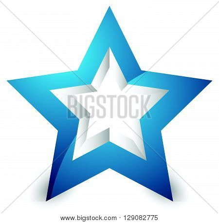 3D Star Icon / Element On White With Shadow